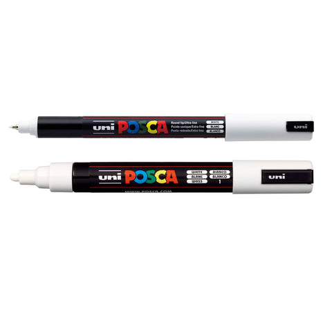 White - Uni Posca Marker Pens (PC-1MR & PC-5M)