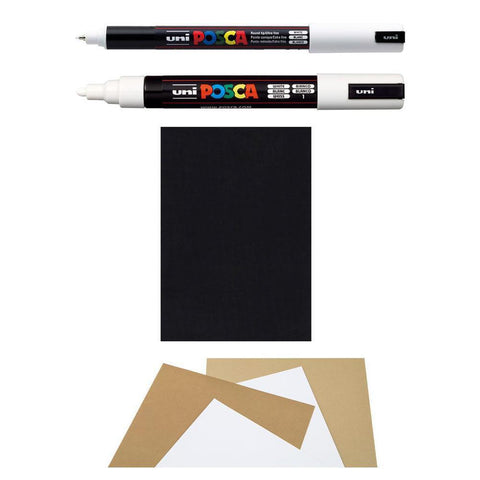 White Posca Pens and Black, Buff & Light Buff Paper Pack