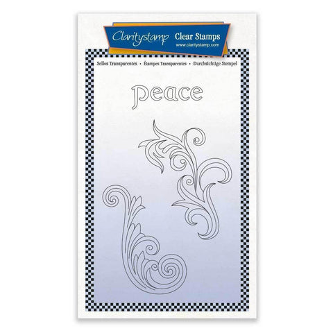 Peace Filigree Swirls + MASK <br/>Unmounted Clear Stamp Set