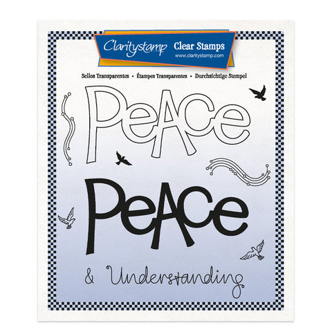 Peace - Feel Good Words 2 Way A5 Square Stamp & Mask Set