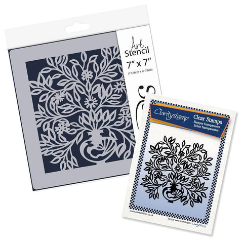 Peacock Floral Urn Stamp Set & Stencil Bundle