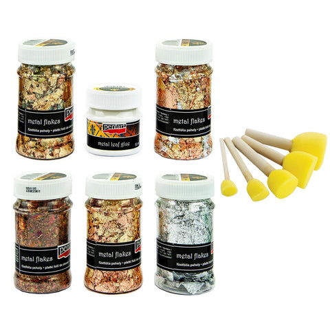 Pentart Metal Flakes - Set 2 & Sponge Brushes