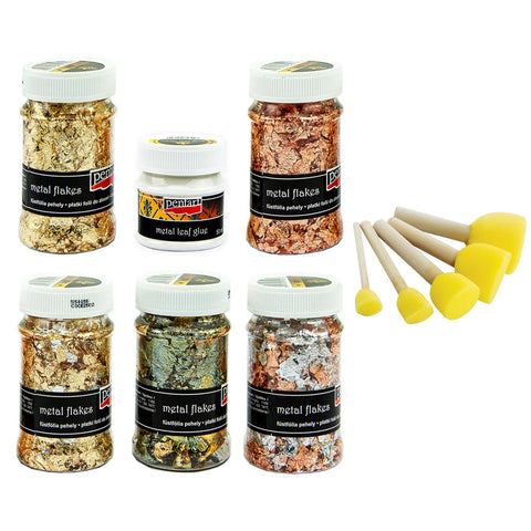 Pentart Metal Flakes - Set 1 & Sponge Brushes