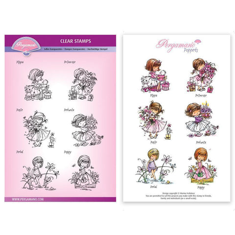 Flower Mini Poppets Stamp Set Artwork by Marina Fedotova