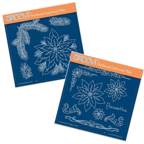 Jayne's Poinsettias <br/>A5 Square Groovi Plate Set