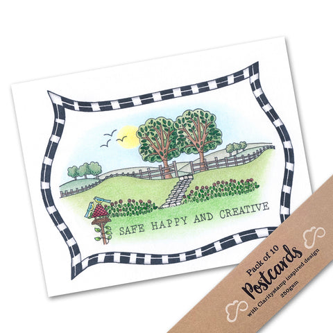 Pack of 10 Postcards - Safe, Happy and Creative