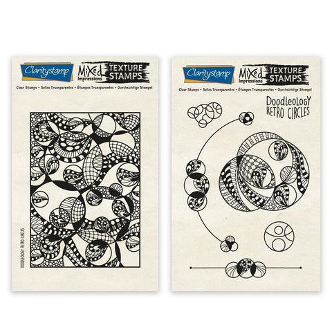 Doodleology Retro Circles - Mixed Impressions Unmounted Clear Stamp Set