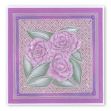 Roses and Woven Trellis Groovi® Plates A5 (Set of 2)