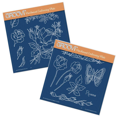 Jayne's Roses Set <br/> A5 Square Groovi Plates (Set of 2)