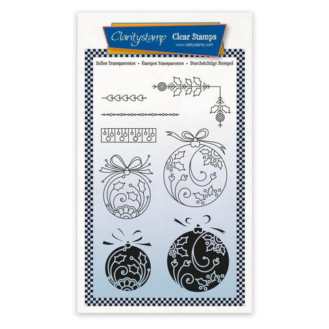 Round Baubles - Tina's 2 Way Christmas Ornaments A6 Stamp Set