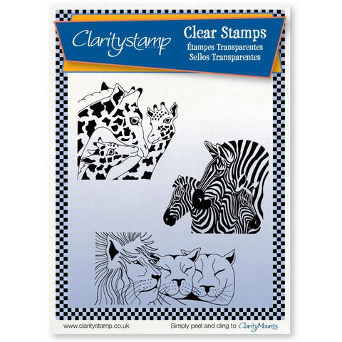 Safari Animals + MASK <br/>Unmounted Clear Stamp Set