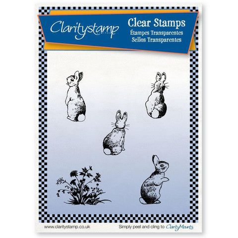Bunnies & Winter Tree Stencil + MASK <br/>Unmounted Clear Stamp Set