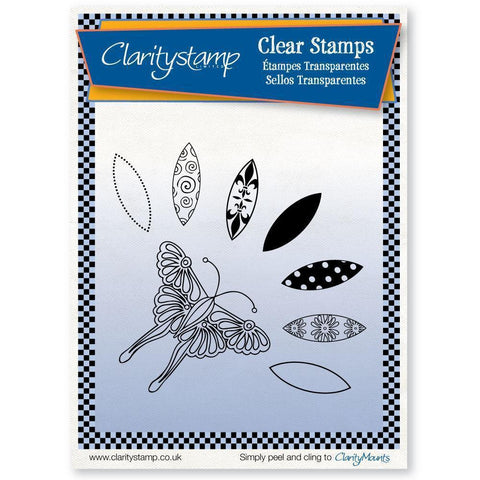 Butterfly & Petals Unmounted Clear Stamp Set