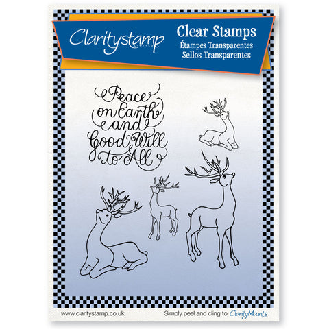 Deer & Peace on Earth + MASKS <br/>Unmounted Clear Stamp Set
