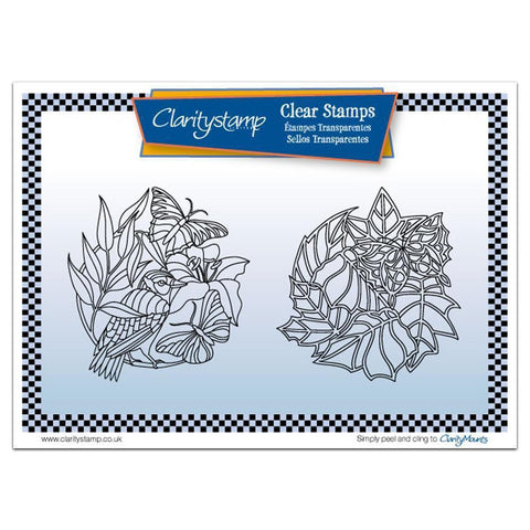 Butterfly Rounds + MASK <br/>Unmounted Clear Stamp Set