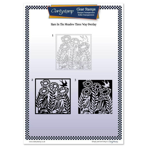 Hare in the Meadow Three Way Overlay <br/>Unmounted Clear Stamp Set