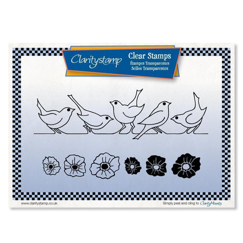 Bird & Flower Rows + MASKS <br/>Unmounted Clear Stamp Set