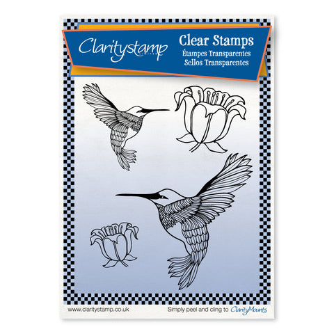 Hummingbirds & Flowers + MASKS <br/>Unmounted Clear Stamp Set