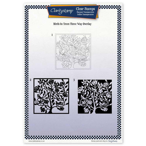 Birds In a Tree Three Way Overlay Unmounted Clear Stamp Set
