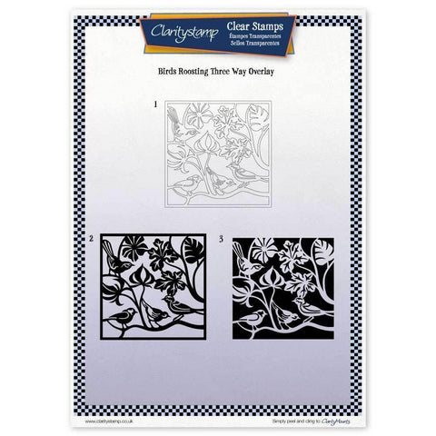 Birds Roosting Three Way Overlay Unmounted Clear Stamp Set