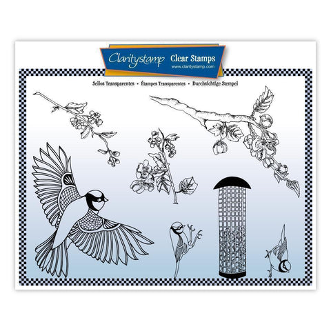 Garden Birds & Cherry Blossom + MASK <br/>Unmounted Clear Stamp Set