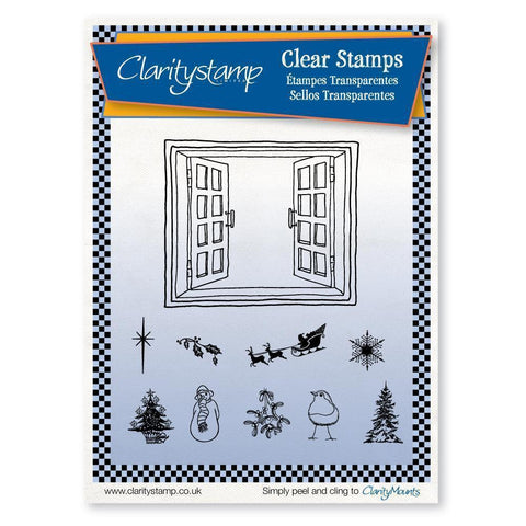 Christmas Miniatures & Window + MASK <br/>Unmounted Clear Stamp Set