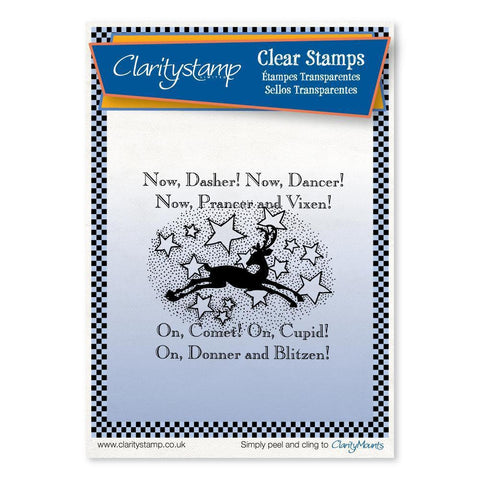 Twas the Night 7 - Now Dasher! - Fine Line <br/>Unmounted Clear Stamp