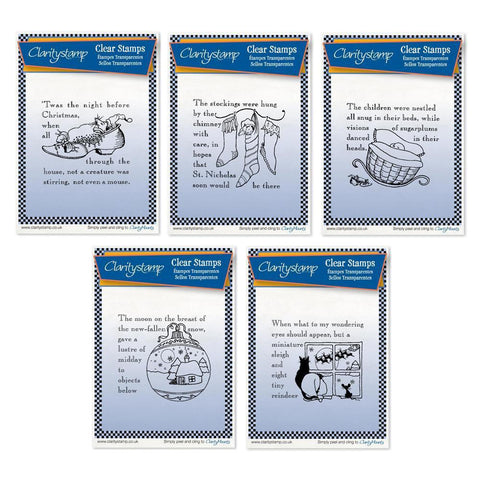 Twas the Night 1-5 - Set 1 - Fine Line <br/>Unmounted Clear Stamp Set