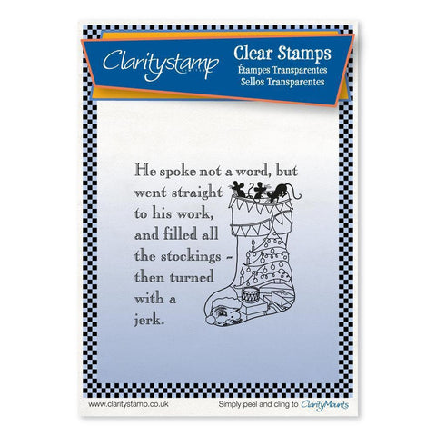 Twas the Night 12 - Bunting Stocking - Fine Line <br/>Unmounted Clear Stamp