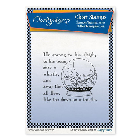 Twas the Night 14 - Snow Globe - Fine Line <br/>Unmounted Clear Stamp