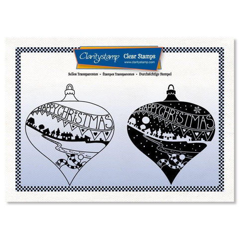 Happy Christmas Bauble - Two Way Overlay + MASK <br/>Unmounted Clear Stamp Set