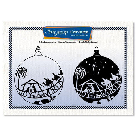 Joy to the World Bauble - Two Way Overlay + MASK Unmounted Clear Stamp Set