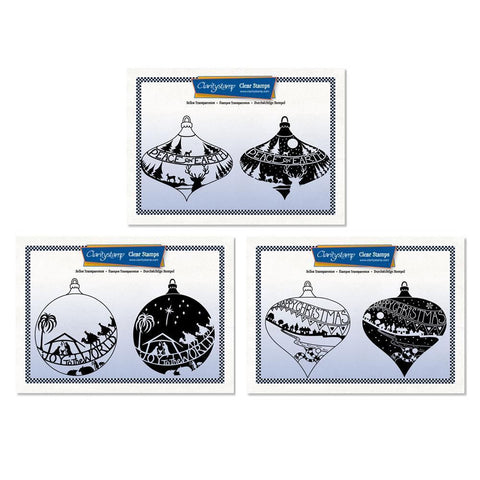 Christmas Baubles - Two Way Overlay Collection + MASKS <br/>Unmounted Clear Stamp Sets