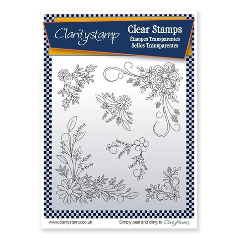 Tina's Floral Swirls & Corners 2 Unmounted Clear Stamp Set