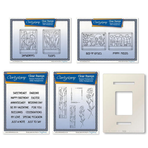 Art Nouveau Floral Collection <br/>Unmounted Clear Stamp Sets <br/>+ Art Nouveau Aperture Stencil