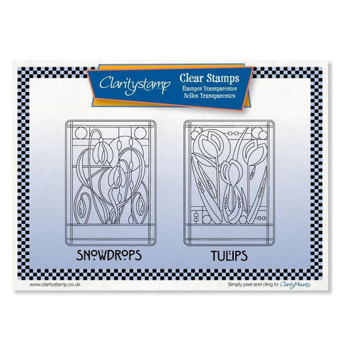 Art Nouveau Snowdrops & Tulips <br/>Unmounted Clear Stamp Set