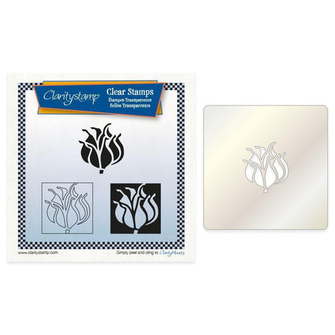 Pod Head Tiles + Stencil Unmounted Clear Stamp Set