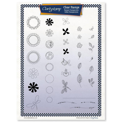 Tina's Doodle Flowers - Fine Line Unmounted Clear Stamp Set
