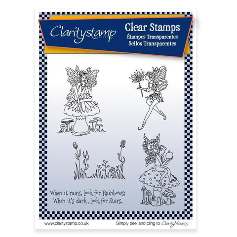 Fairies 1 (Rainbows & Stars Verse) + MASK <br/>Unmounted Clear Stamp Set