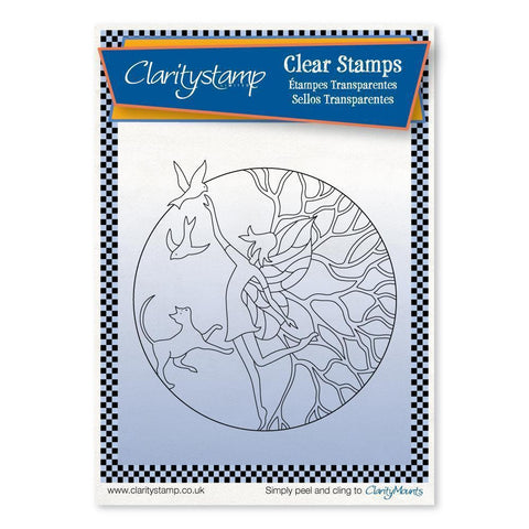 Fairy Enchantment Round - Fine Line + MASK <br/>Unmounted Clear Stamp