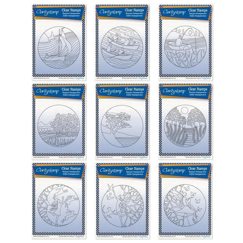 Fine Line Rounds Collection + MASKS <br/>Unmounted Clear Stamps
