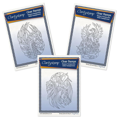 Dragon, Phoenix & Unicorns + MASKS <br/>Unmounted Clear Stamps Trio
