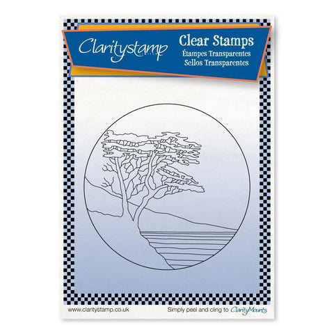 Lone Cypress Round - Fine Line + MASK Unmounted Clear Stamp