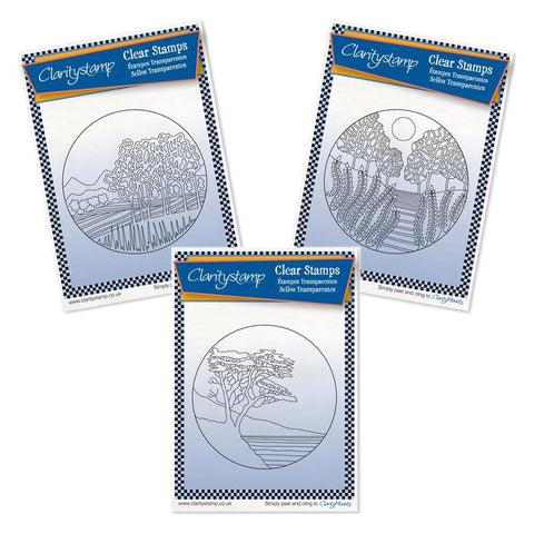 California Rounds - Fine Line Trio + MASKS <br/>Unmounted Clear Stamps