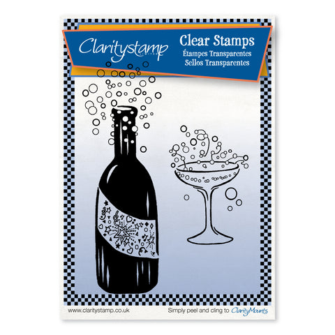 Bubbly Bottle & Glass <br/>Unmounted Clear Stamp Set