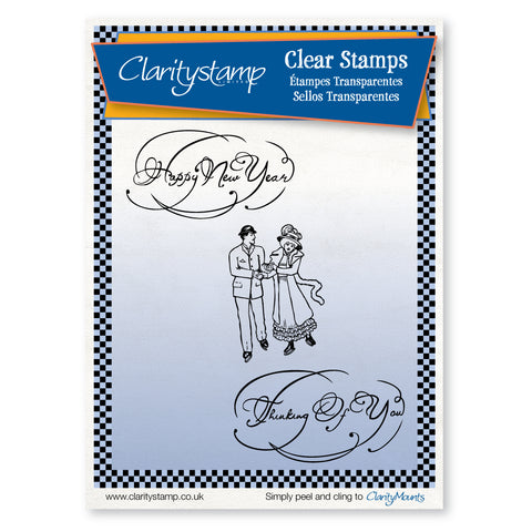 Ice Skaters & Sentiments <br/>Unmounted Clear Stamp Set