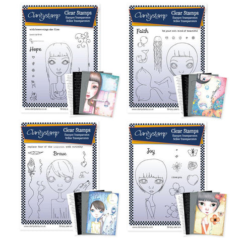 Dee's Friends Collection <br/>Unmounted Clear Stamp Sets <br/>+ MASKS & 8x Phrase Sheets