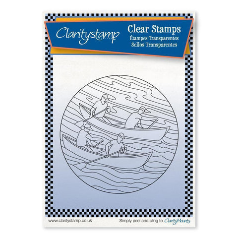 Rowers Round - Fine Line + MASK <br/>Unmounted Clear Stamp