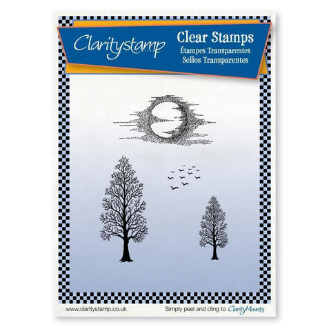 Trees & Moon Unmounted Clear Stamp Set
