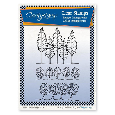Tree Rows + MASK Unmounted Clear Stamp Set